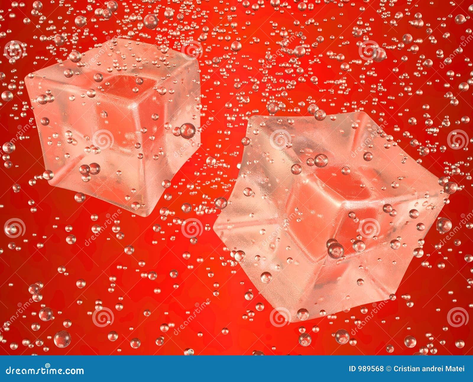 Cubos de hielo rojos