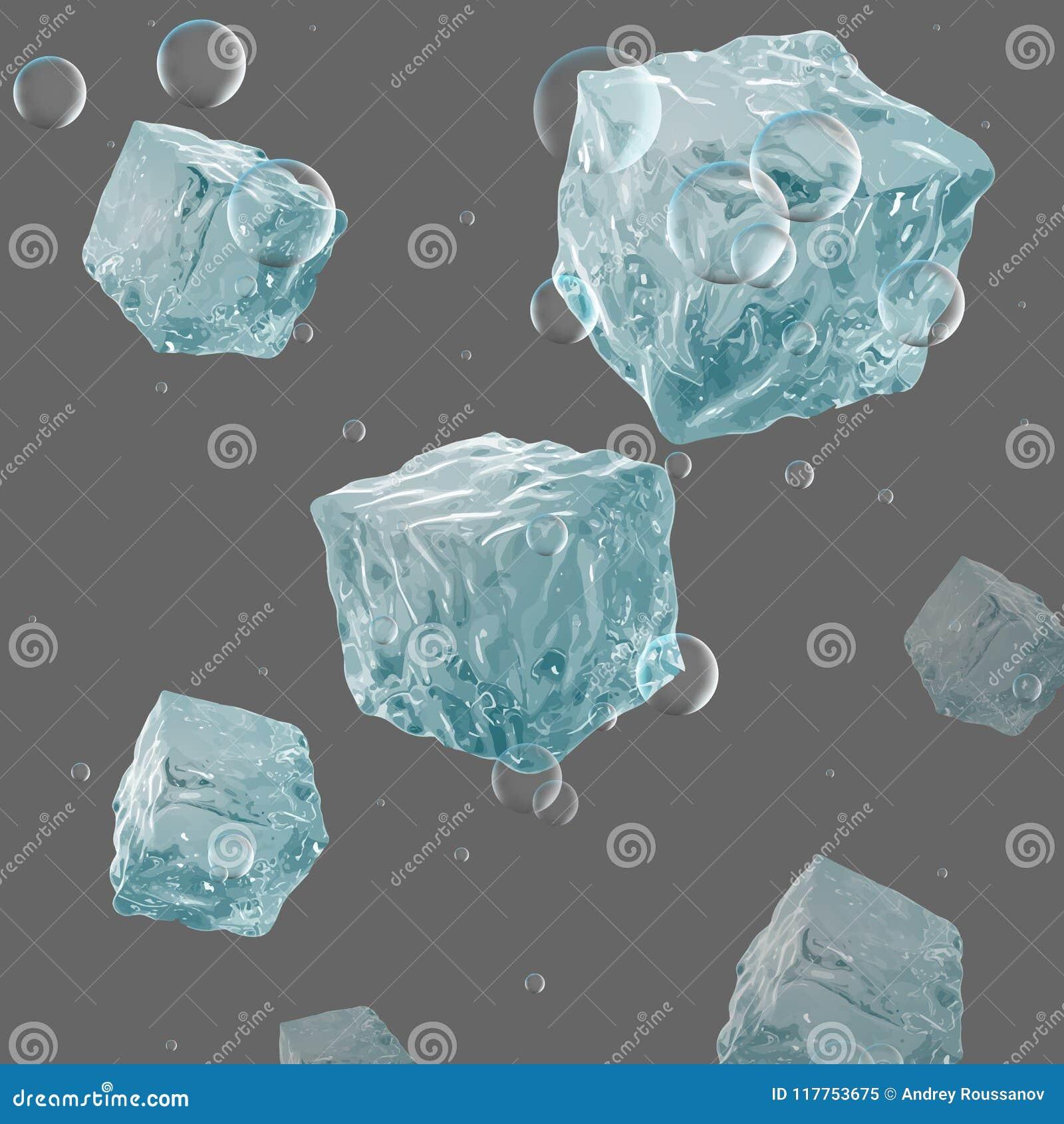 Cubos de hielo, soda, hielo Fondo realista fresco