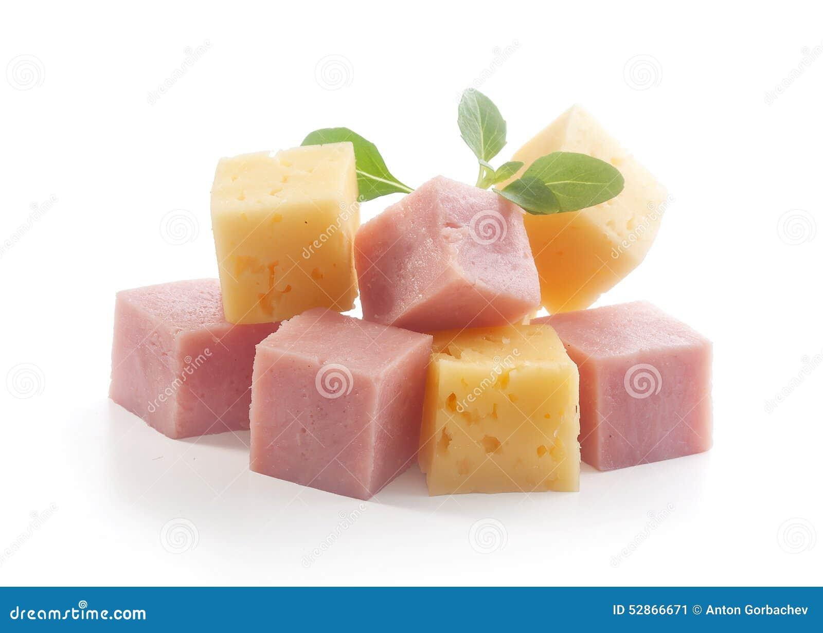 Cubos do presunto e do queijo