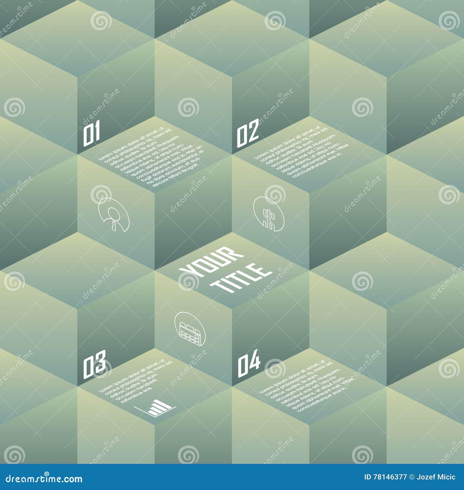 Cubos isométricos del fondo en colores retros del vintage Contexto de la geometría conveniente para el infographics, presentacion