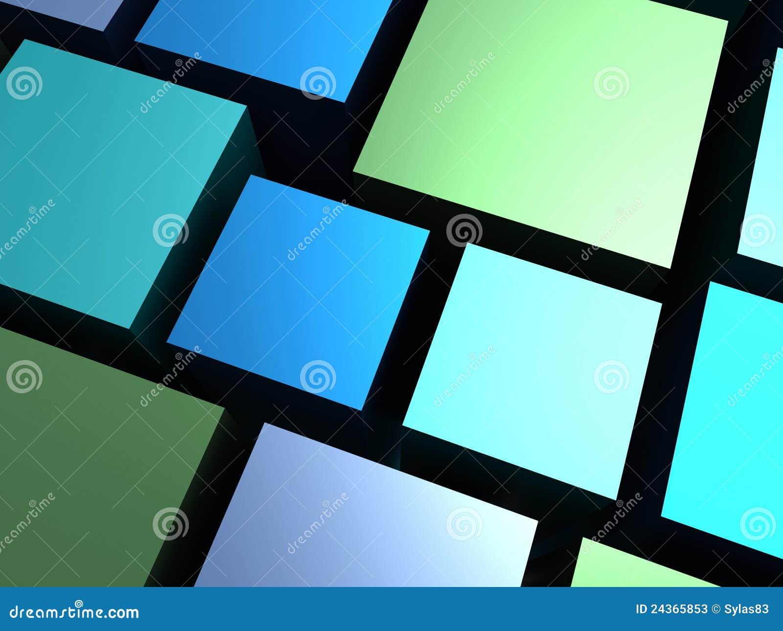 Cubos Verdes Y Azules Del Fondo Abstracto