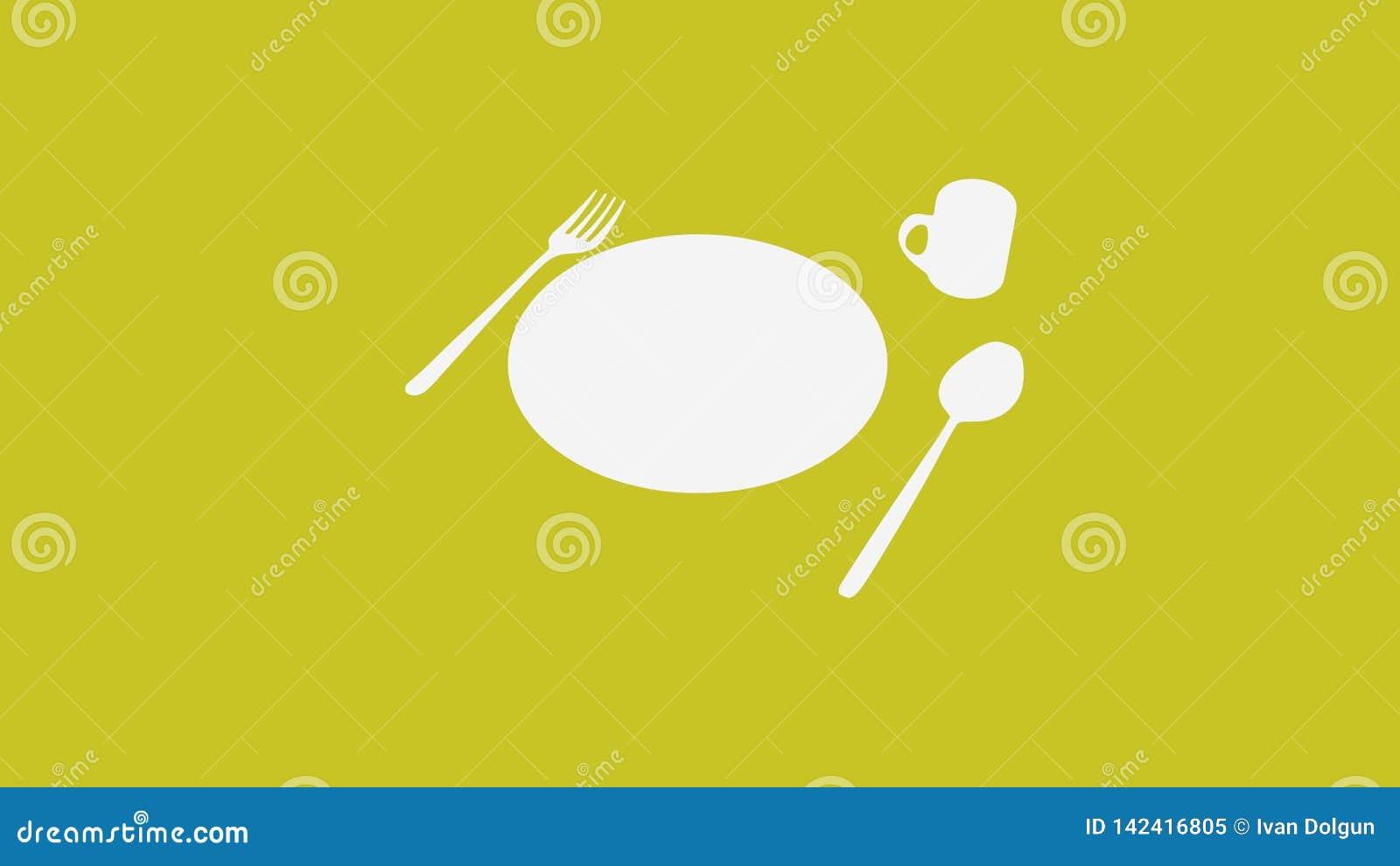 Cucchiaio e forchetta e piatto e tazza su giallo scuro