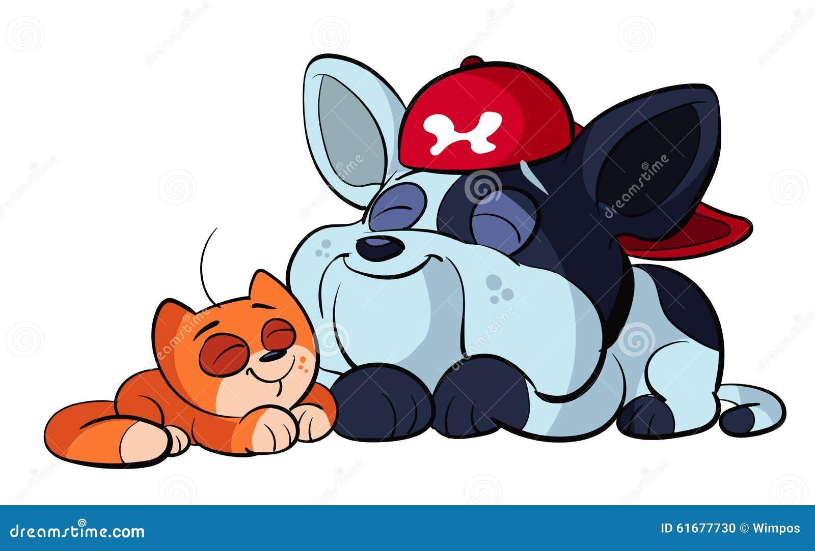 Cucciolo Del Bulldog E Gatto Rosso Sveglio Illustrazione Vettoriale