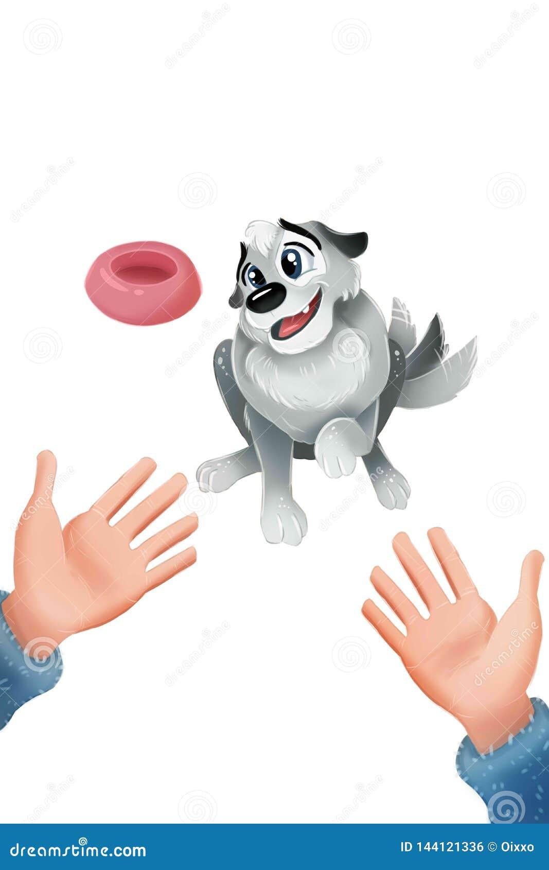 Cucciolo grigio sveglio che si siede e che scuote la sua coda Le mani aprono il gesto approvazione