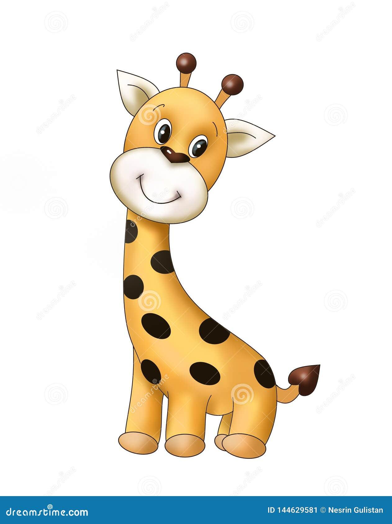 Cucciolo minuscolo sveglio della giraffa, animale, libro da colorare di bambino, libro di storia dei bambini, illustrasion, carto