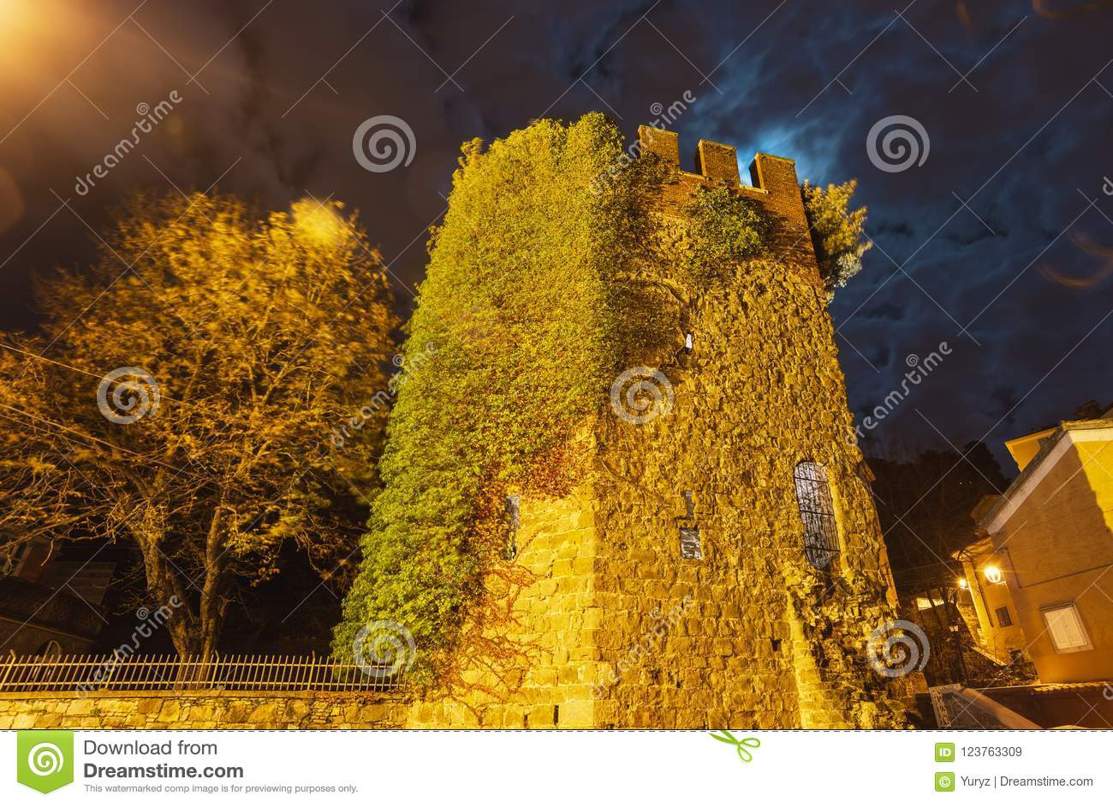 Cucherna塔在夜的里雅斯特