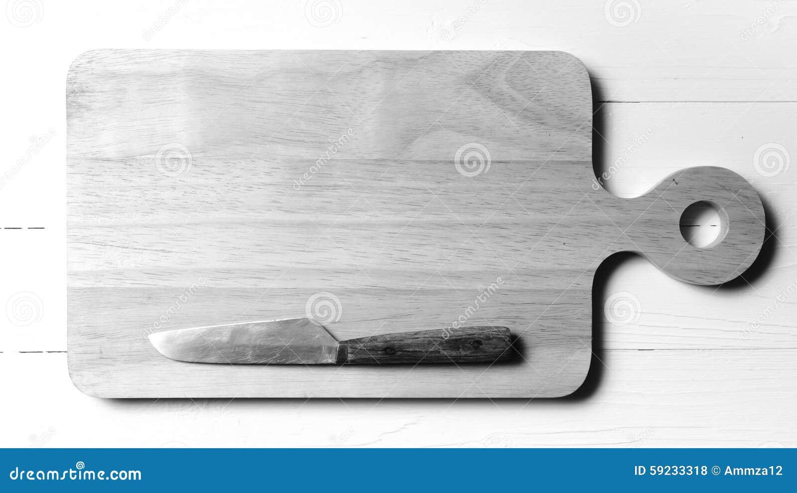 Download Cuchillo De Cocina En Estilo Blanco Y Negro Del Color De Tono De La Tabla De Cortar Foto de archivo - Imagen de acero, rústico: 59233318