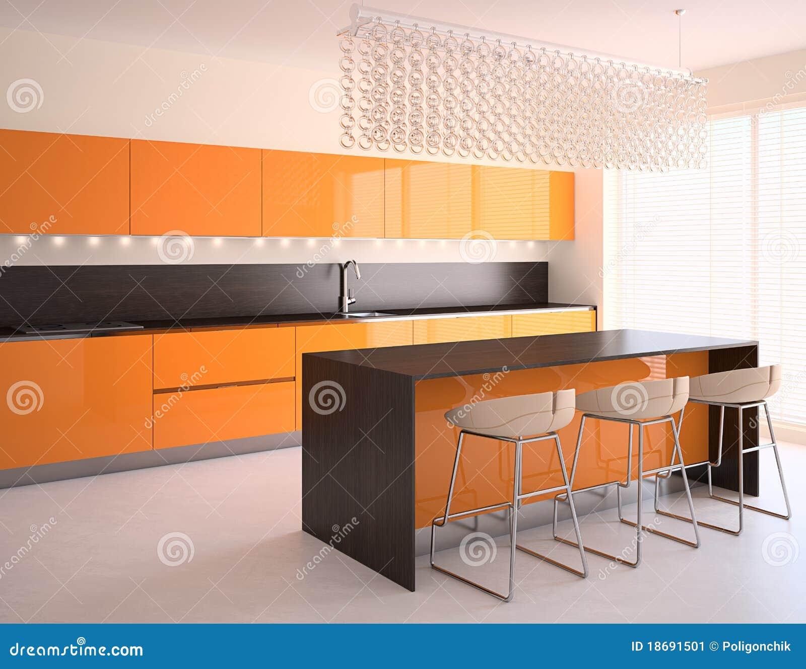 Cucina Moderna Arancione.Cucina Arancione Moderna Illustrazione Di Stock
