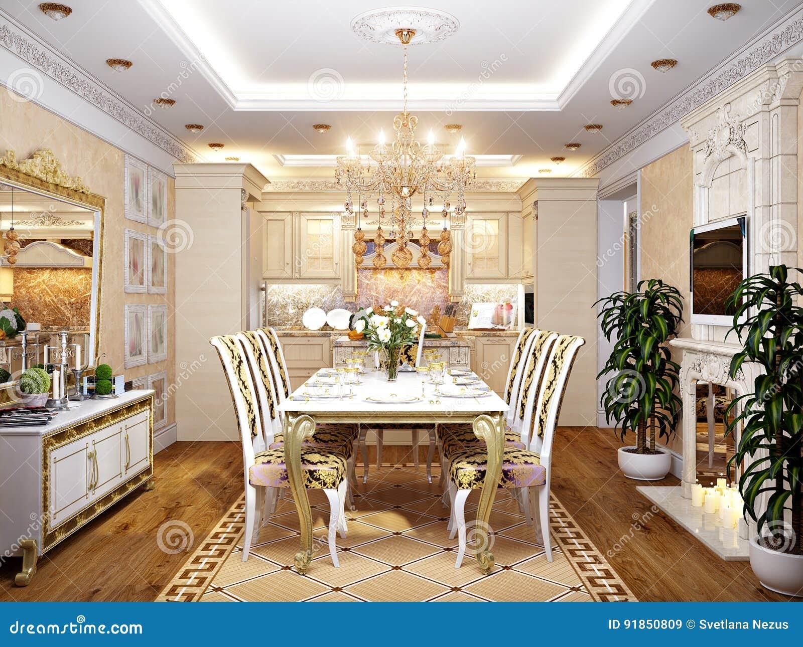 Cucina Barrocco Classica Lussuosa E Sala Da Pranzo Illustrazione Di Stock Illustrazione Di Costruzione Mobilia 91850809