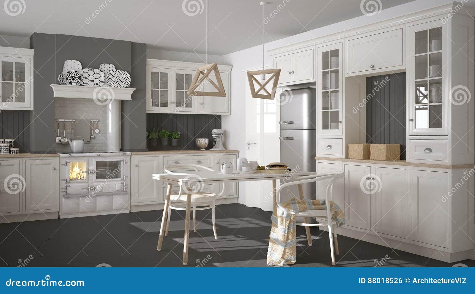 Cucina Bianca Classica Scandinava Con I Dettagli Di Legno ...