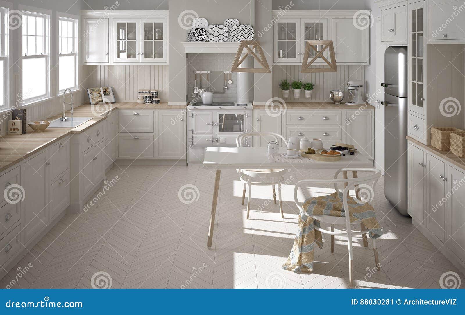 Cucina Bianca Classica Scandinava Con I Dettagli Di Legno, Minimali ...