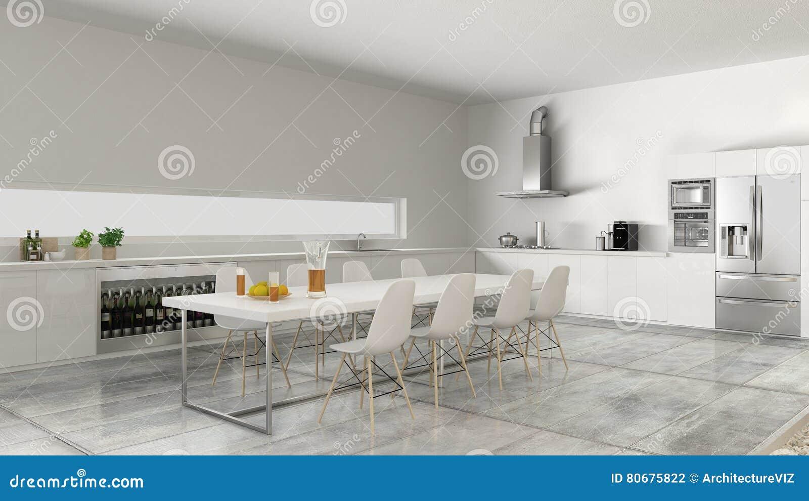 Cucina Bianca Con La Tavola E Le Sedie Fotografia Stock - Immagine ...