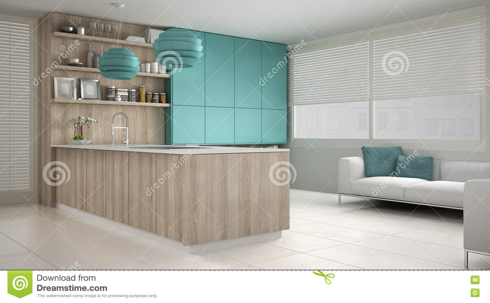 Cucina Bianca Di Minimalistic Con I Dettagli Del Turchese E Di Legno ...