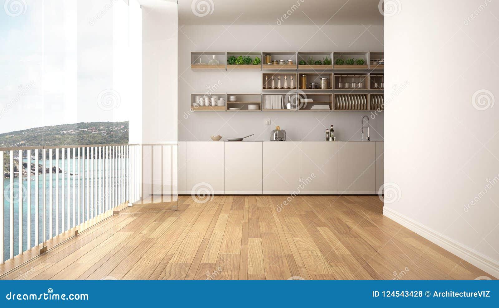 Cucina Bianca E Di Legno Minimalista Con Il Pavimento Di Parquet E ...