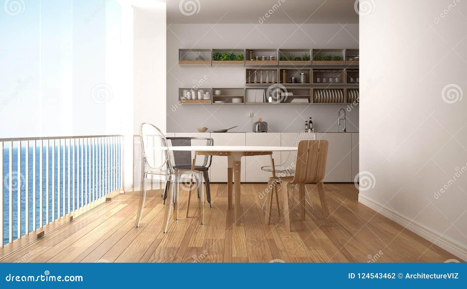 Panorama Tavoli Da Giardino.Cucina Bianca E Di Legno Minimalista Con Il Tavolo Da Pranzo E La
