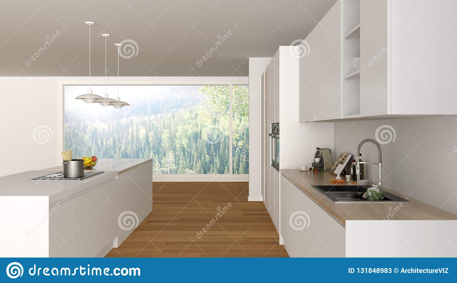 Cucina Bianca Con Isola.Grande Minimalista Moderna La Cucina Bianca Legno Di Con E L