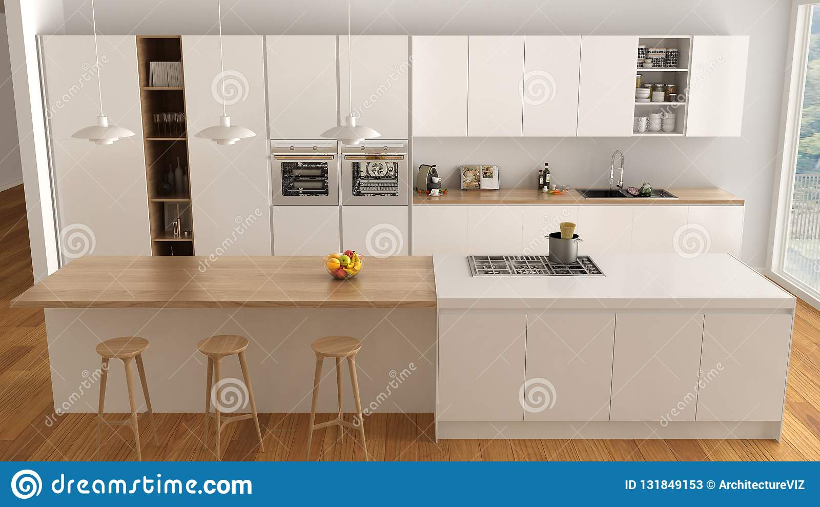 Cucina Bianca E Di Legno Minimalista Moderna Con L\'isola E ...