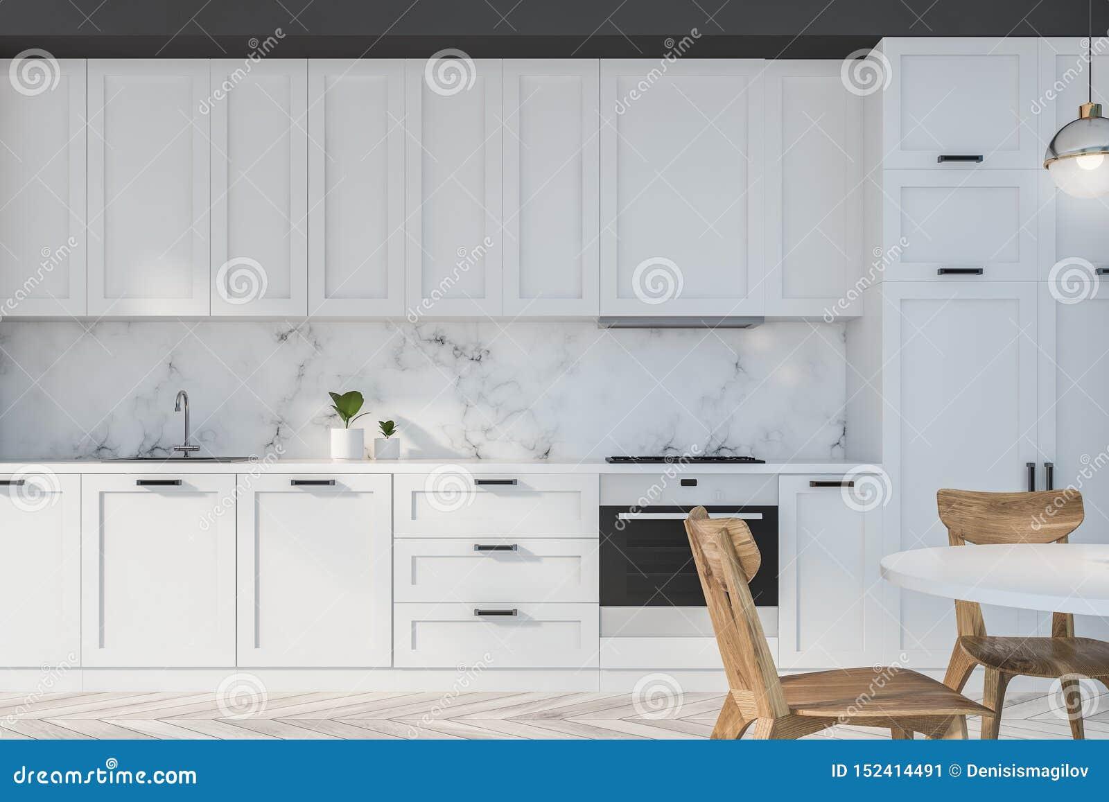Cucina Bianca E Nera cucina bianca e di marmo con la tavola illustrazione di