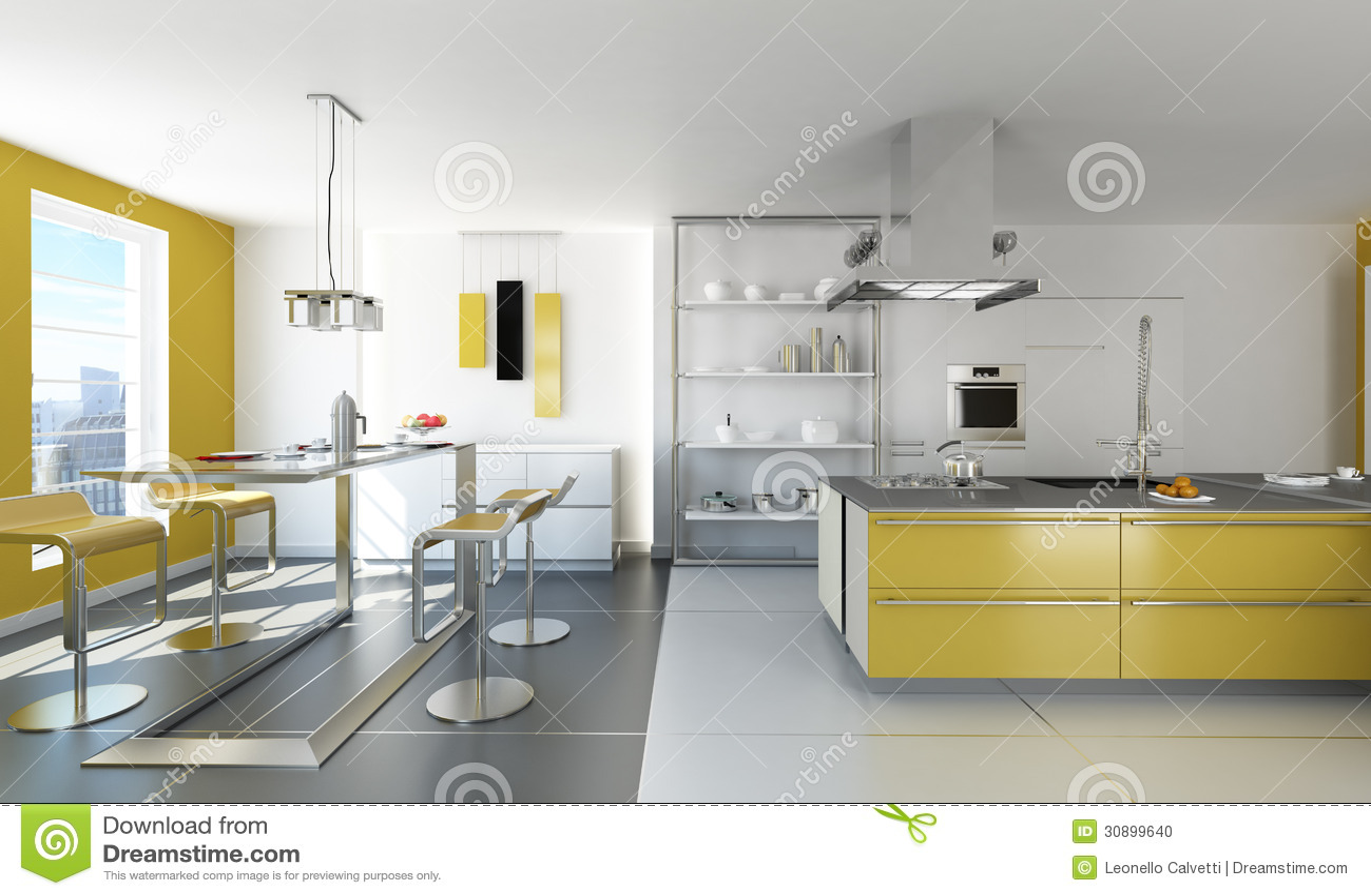 Cucina bianca e gialla moderna illustrazione di stock for Cucina bianca
