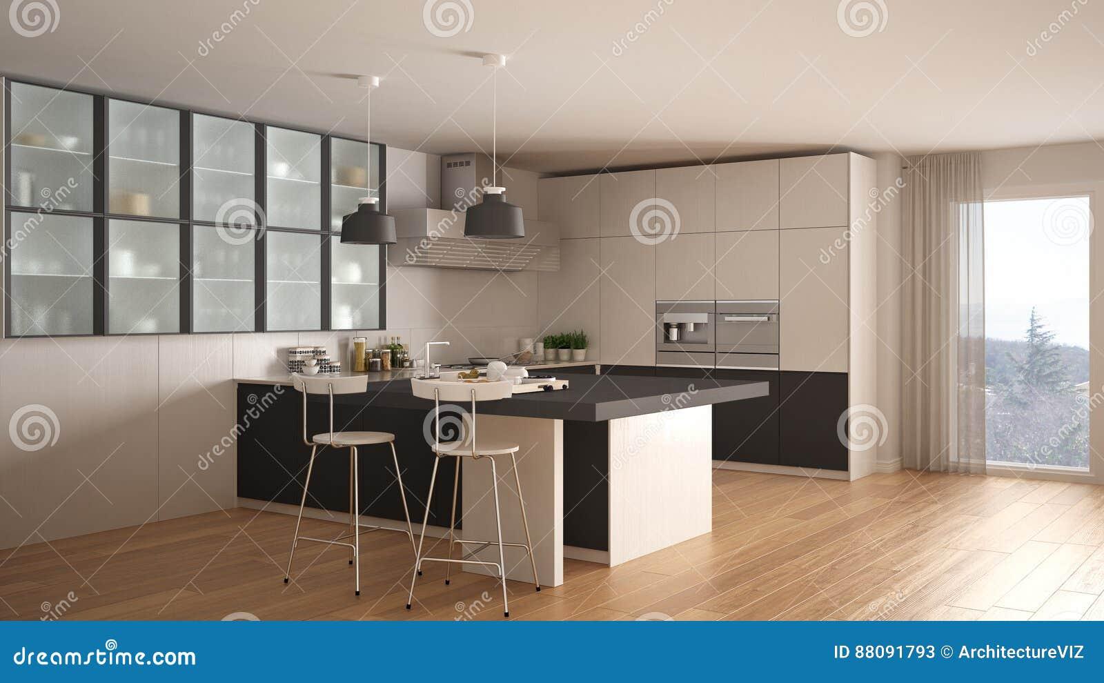 Cucina bianca e grigia minima classica con il pavimento di - Cucina classica bianca ...