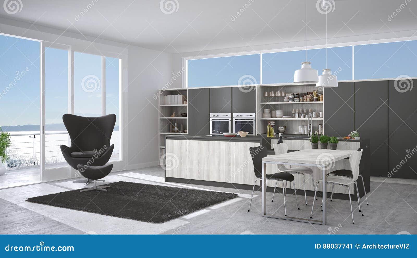Cucina bianca e grigia moderna con i dettagli di legno grandi wi della finestra illustrazione - Cucina bianca e legno ...