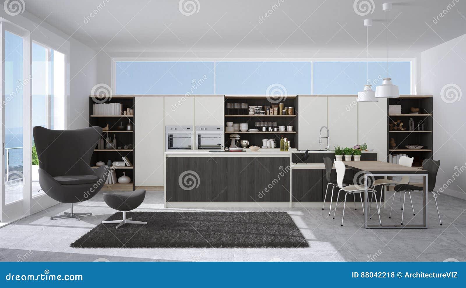 Cucina bianca e grigia moderna con i dettagli di legno for Cucina e grandi disegni della stanza