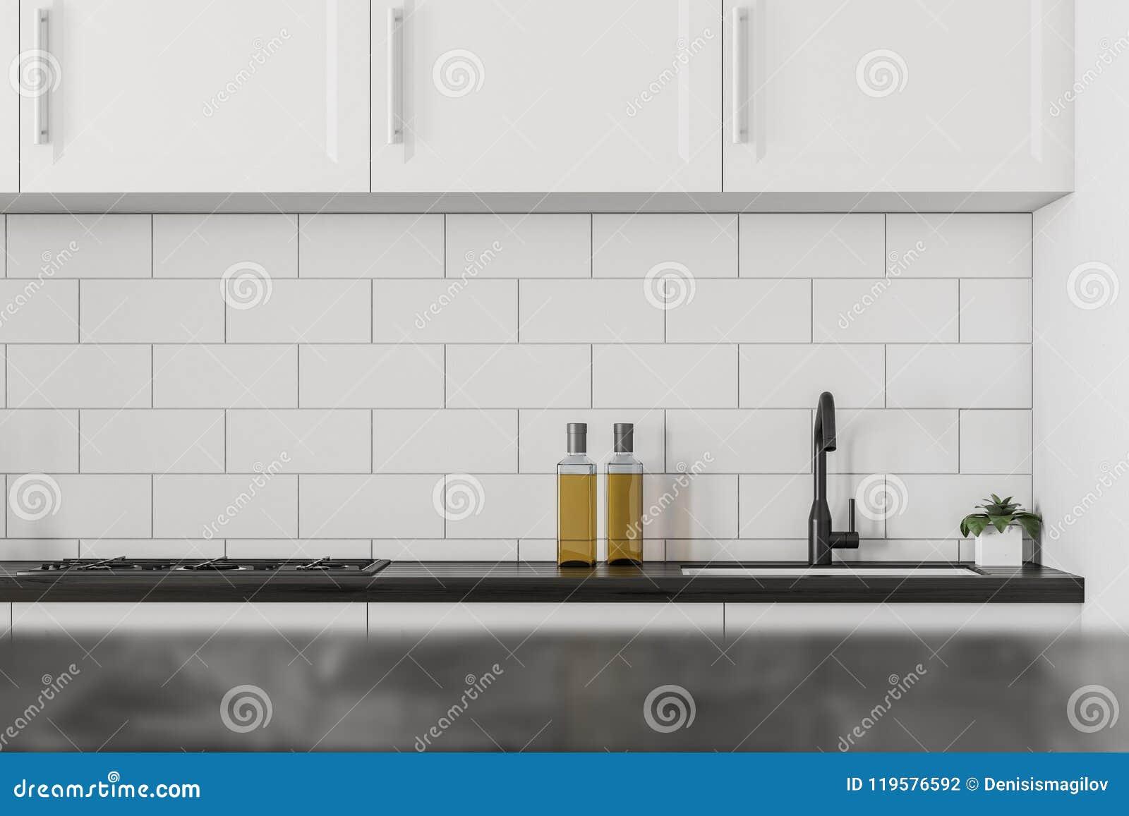 Cucina Bianca E Nera cucina bianca e nera, controsoffitto fotografia stock