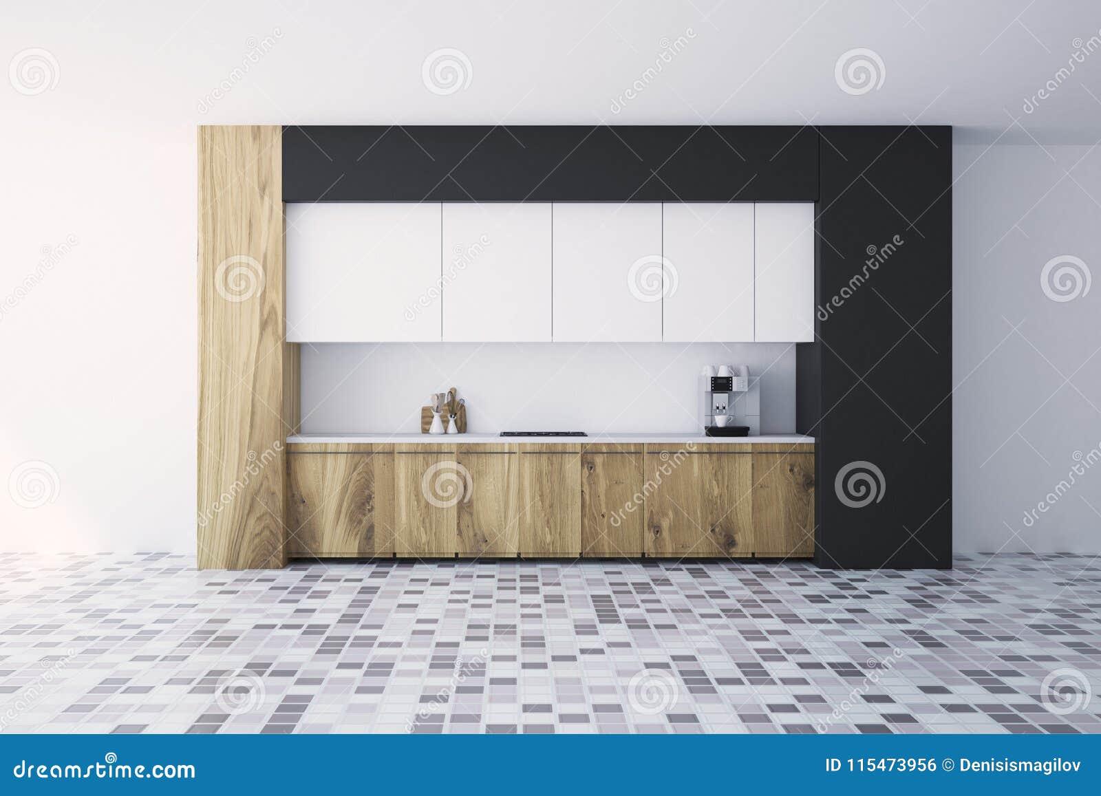 Cucina Bianca E Nera Interna, Vista Frontale Illustrazione ...