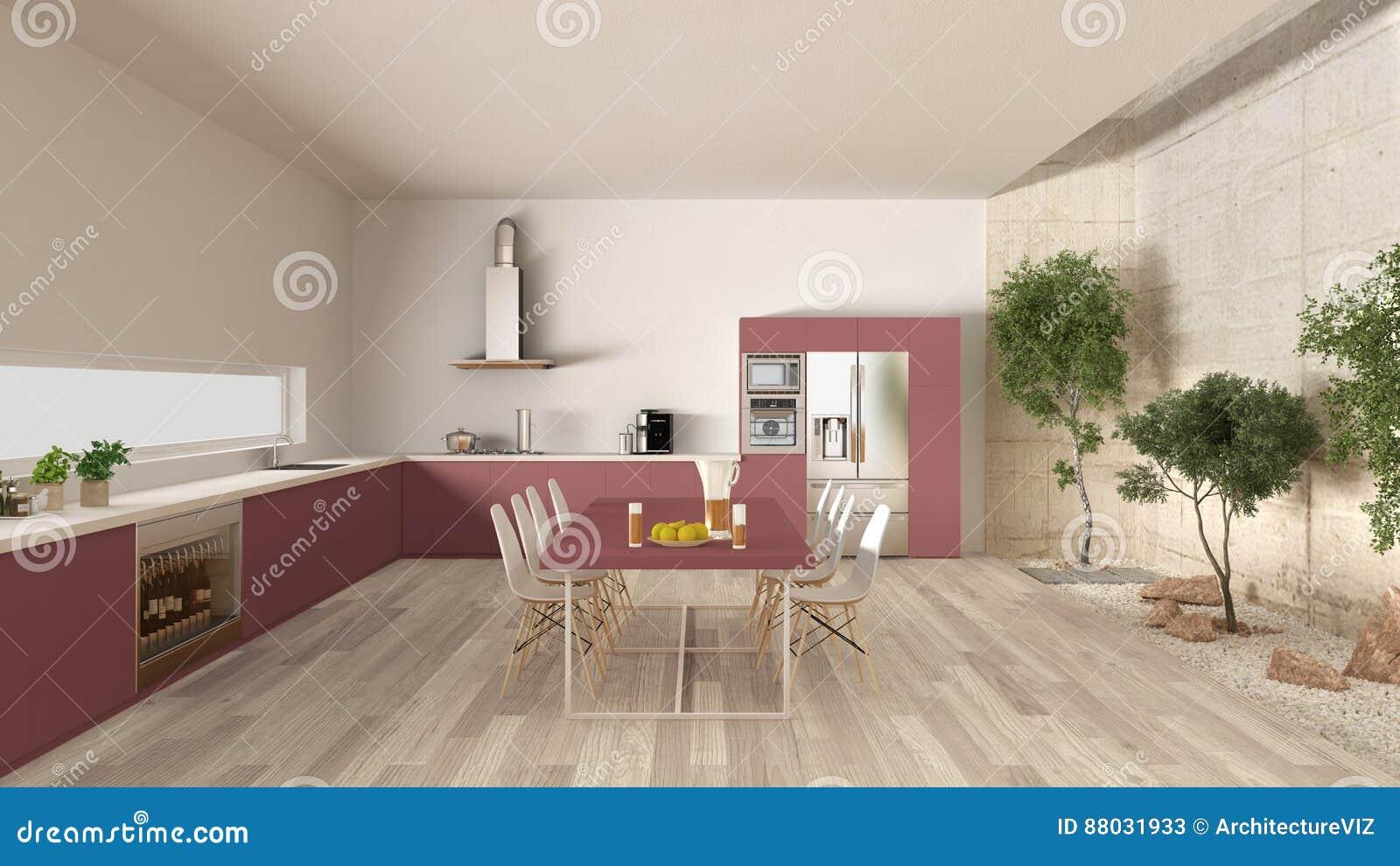 Cucina bianca e rossa con il giardino interno interior - Cucina in giardino ...