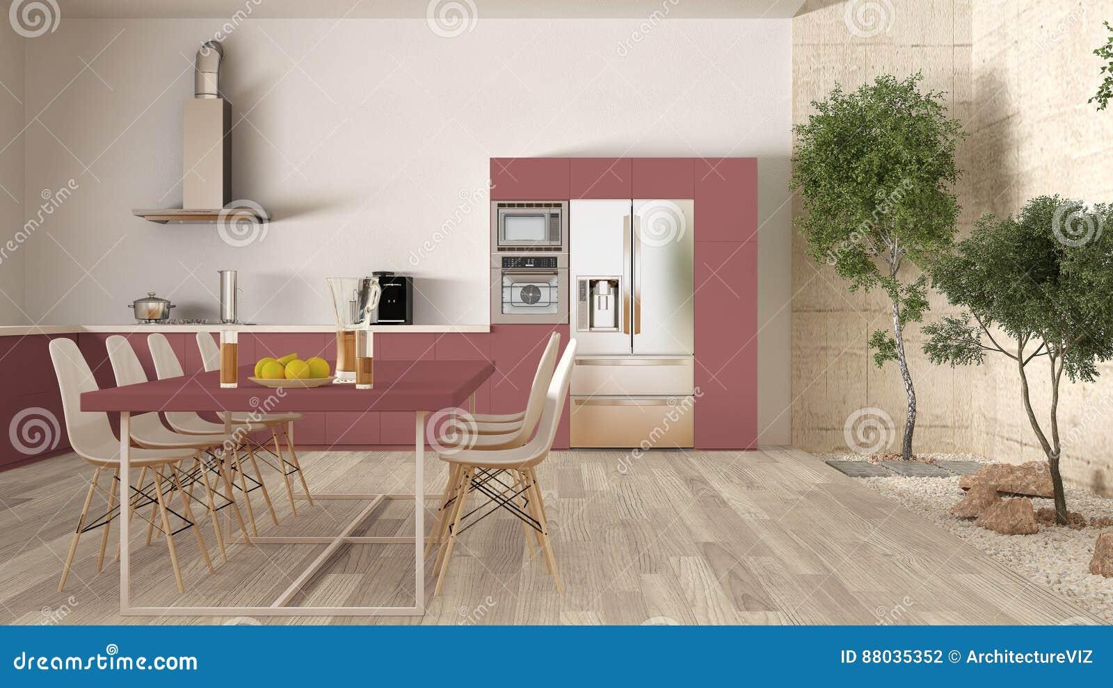 Cucina Bianca E Rossa Con Il Giardino Interno, Interior Design ...