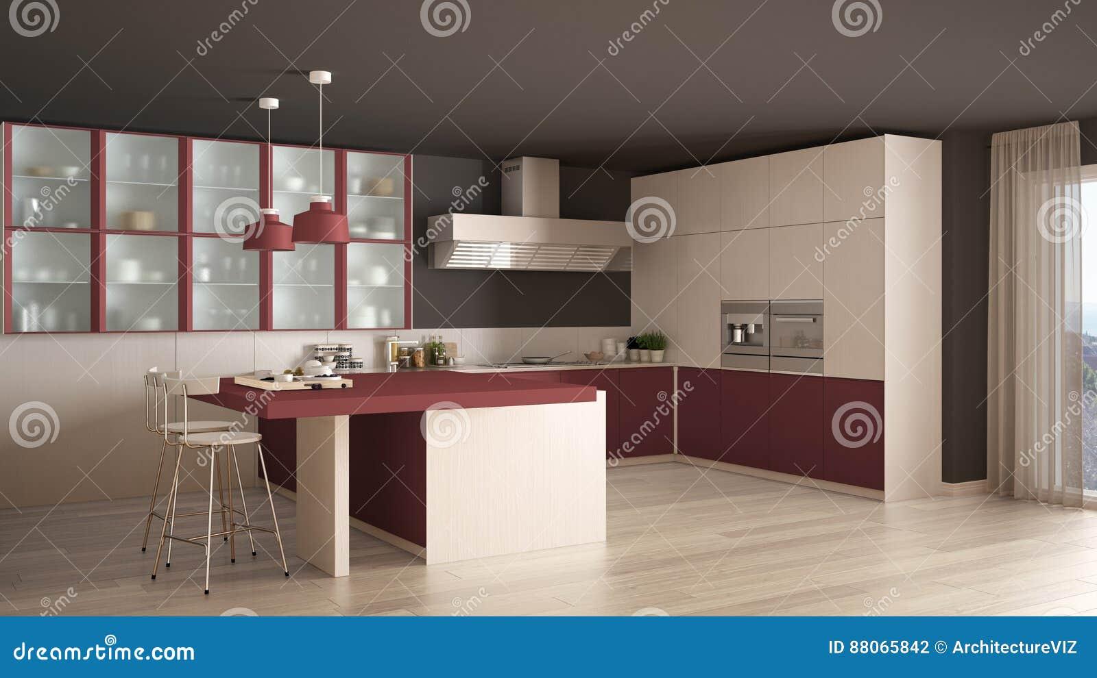 Cucina bianca e rossa minima classica con il pavimento di parquet moderno illustrazione di - Cucina bianca e rossa ...