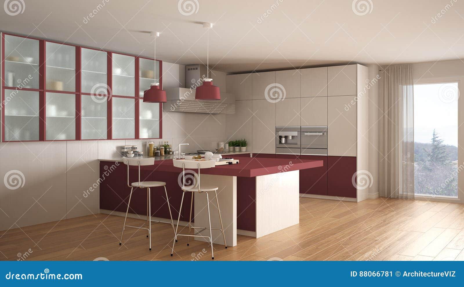 Cucina bianca e rossa minima classica con il pavimento di parquet moderno illustrazione di - Cucina bianca classica ...