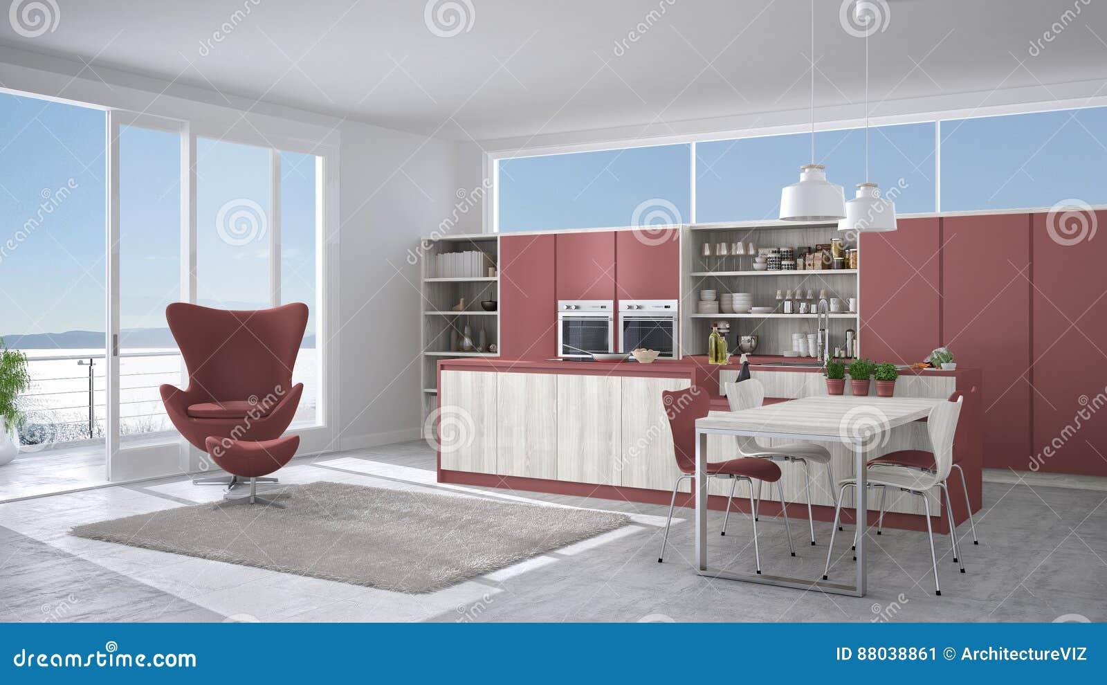 Cucina bianca e rossa moderna con i dettagli di legno for Cucina moderna con finestra