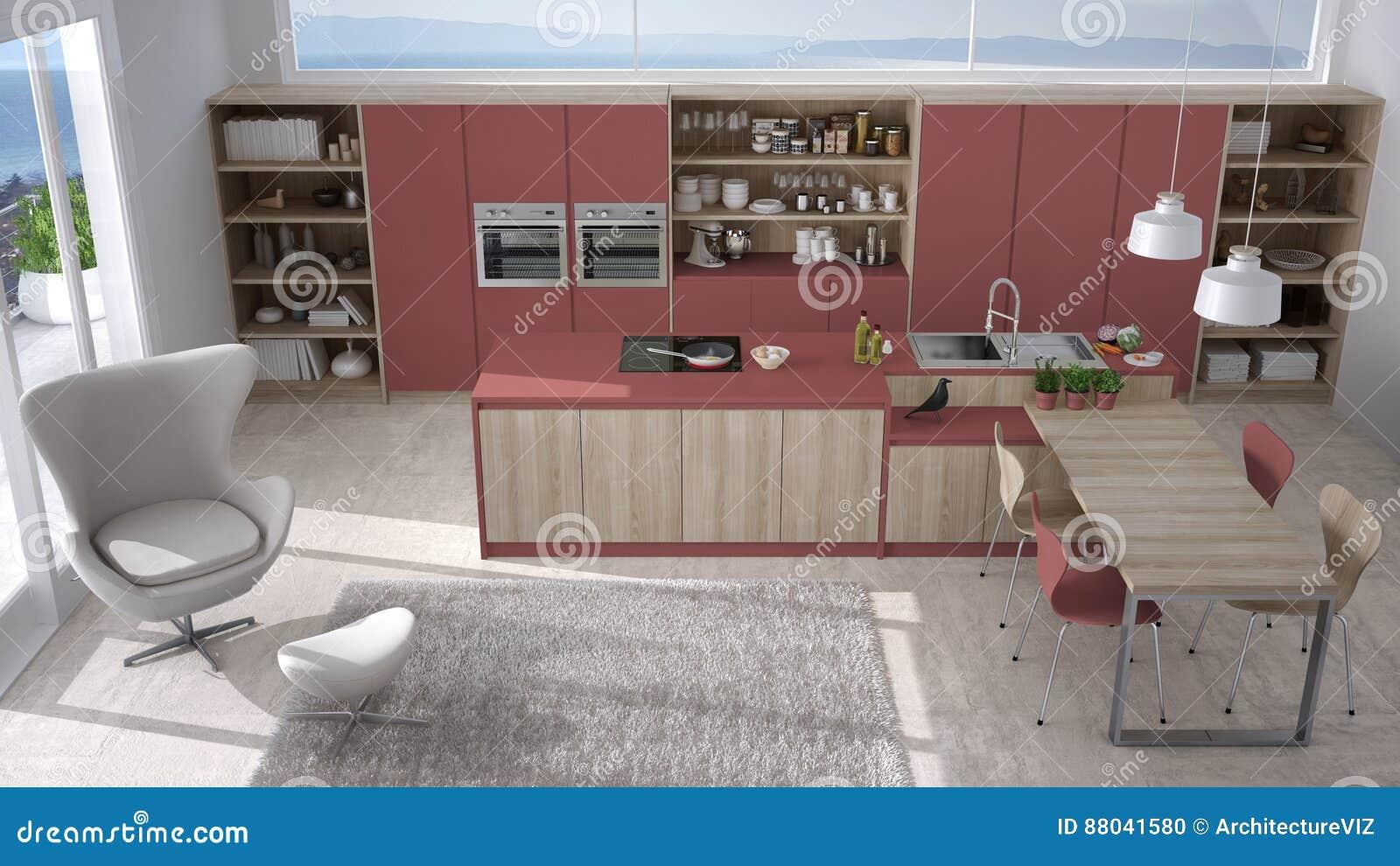 Cucina Bianca E Rossa Moderna Con I Dettagli Di Legno, Grande ...