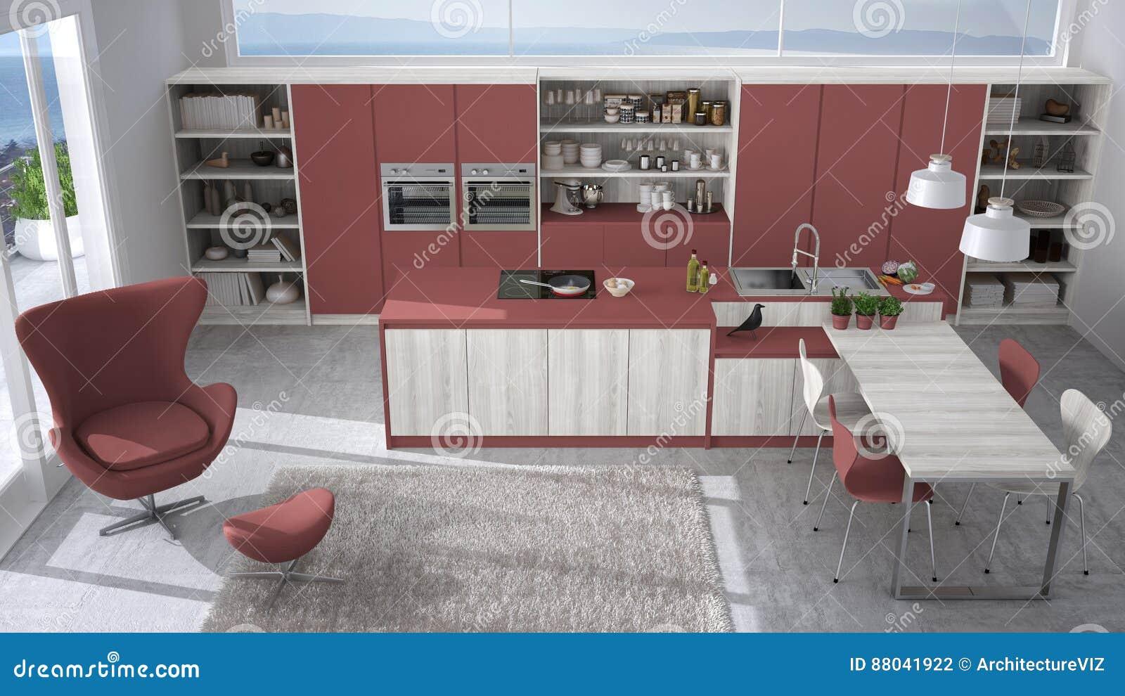 Cucina bianca e rossa moderna con i dettagli di legno grande spirito della finestra - Cucina bianca e rossa ...