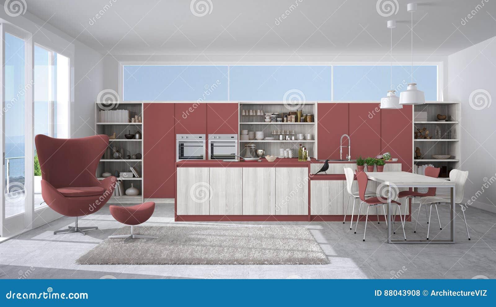 Cucina Moderna Rossa E Bianca.Cucina Bianca E Rossa Moderna Con I Dettagli Di Legno