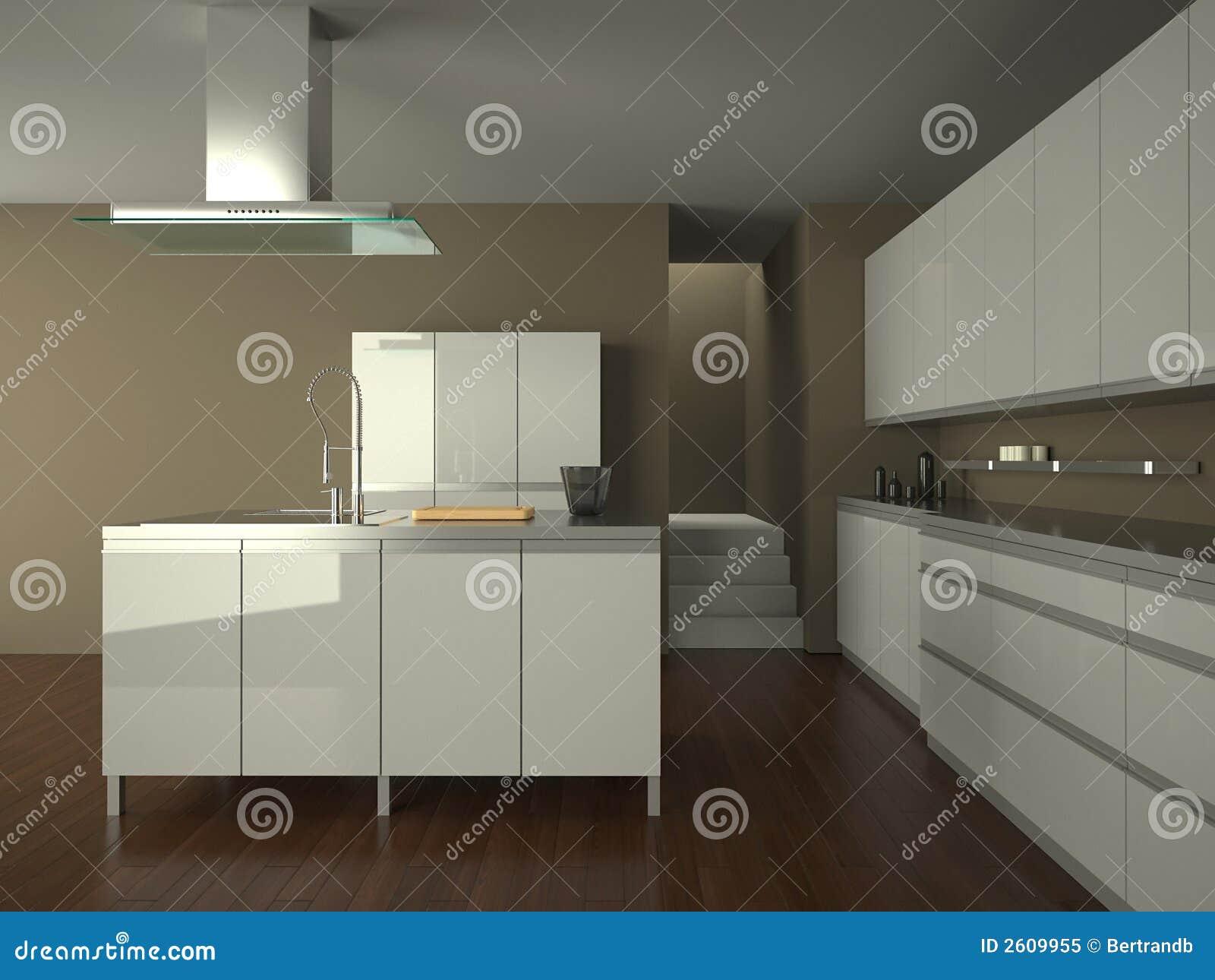 Cucina bianca moderna illustrazione di stock for Cucina moderna bianca lucida