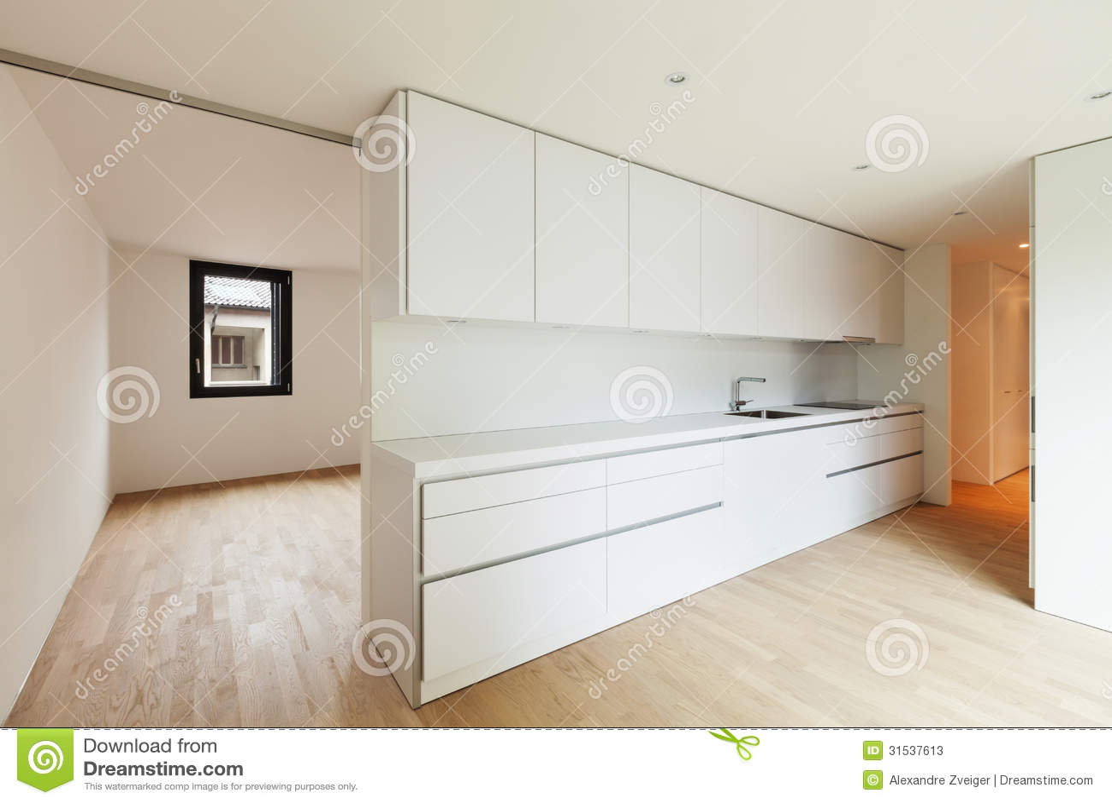 Cucina bianca moderna immagine stock immagine di spazio - Cucina bianca moderna ...