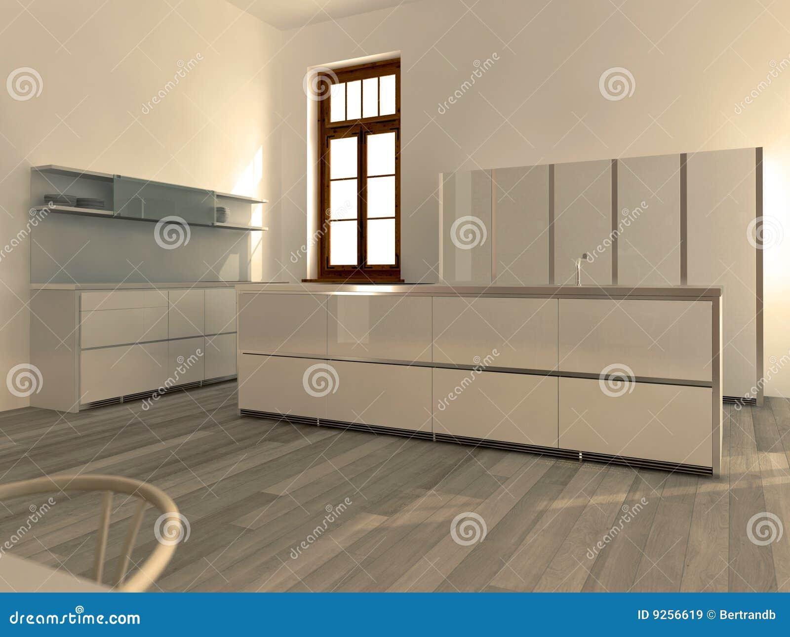 Cucina bianca moderna illustrazione di stock illustrazione di aperto 9256619 - Cucina moderna bianca ...