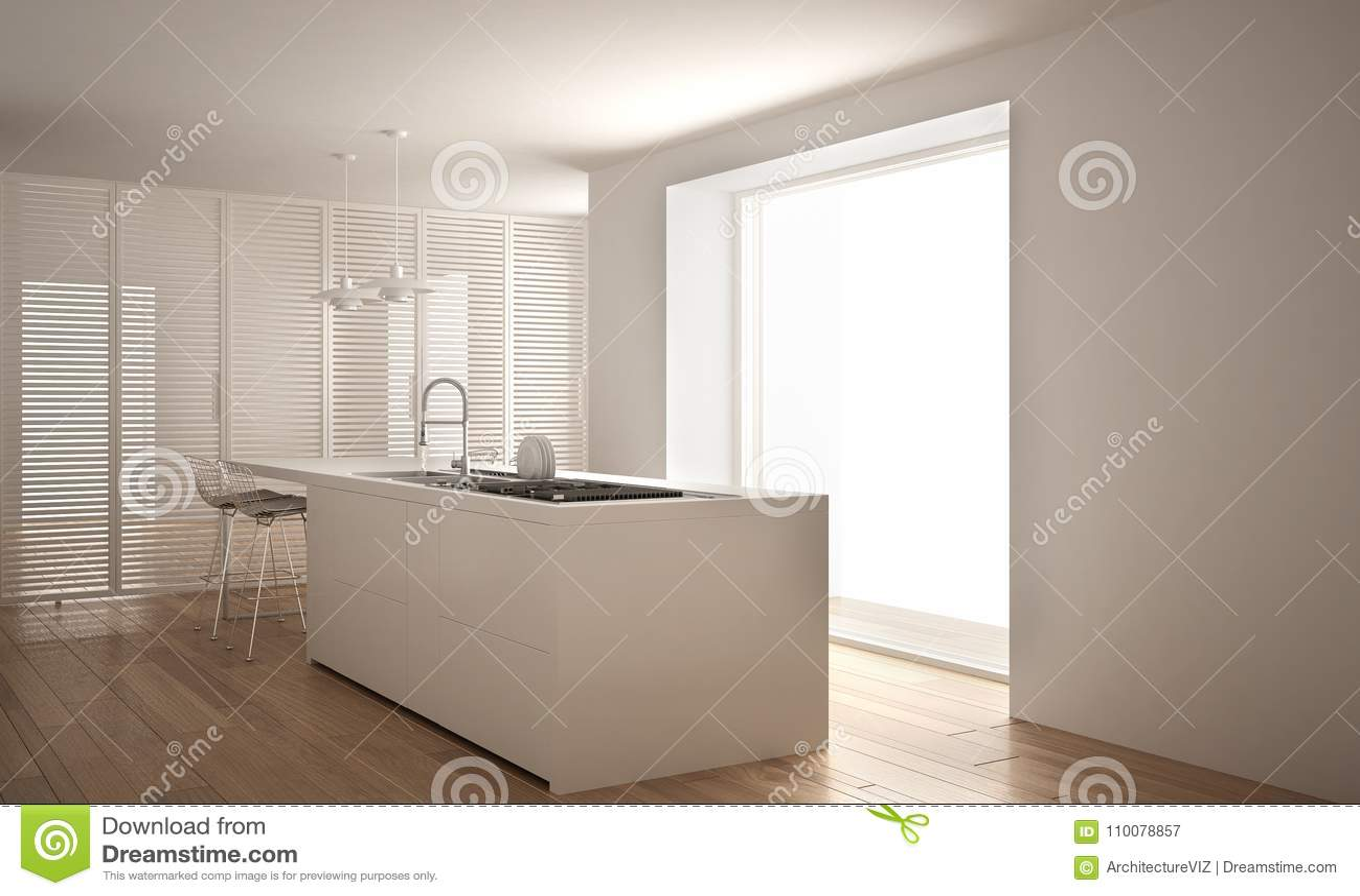 Cucina bianca moderna con l 39 isola e la grande finestra - Cucina bianca moderna con isola ...