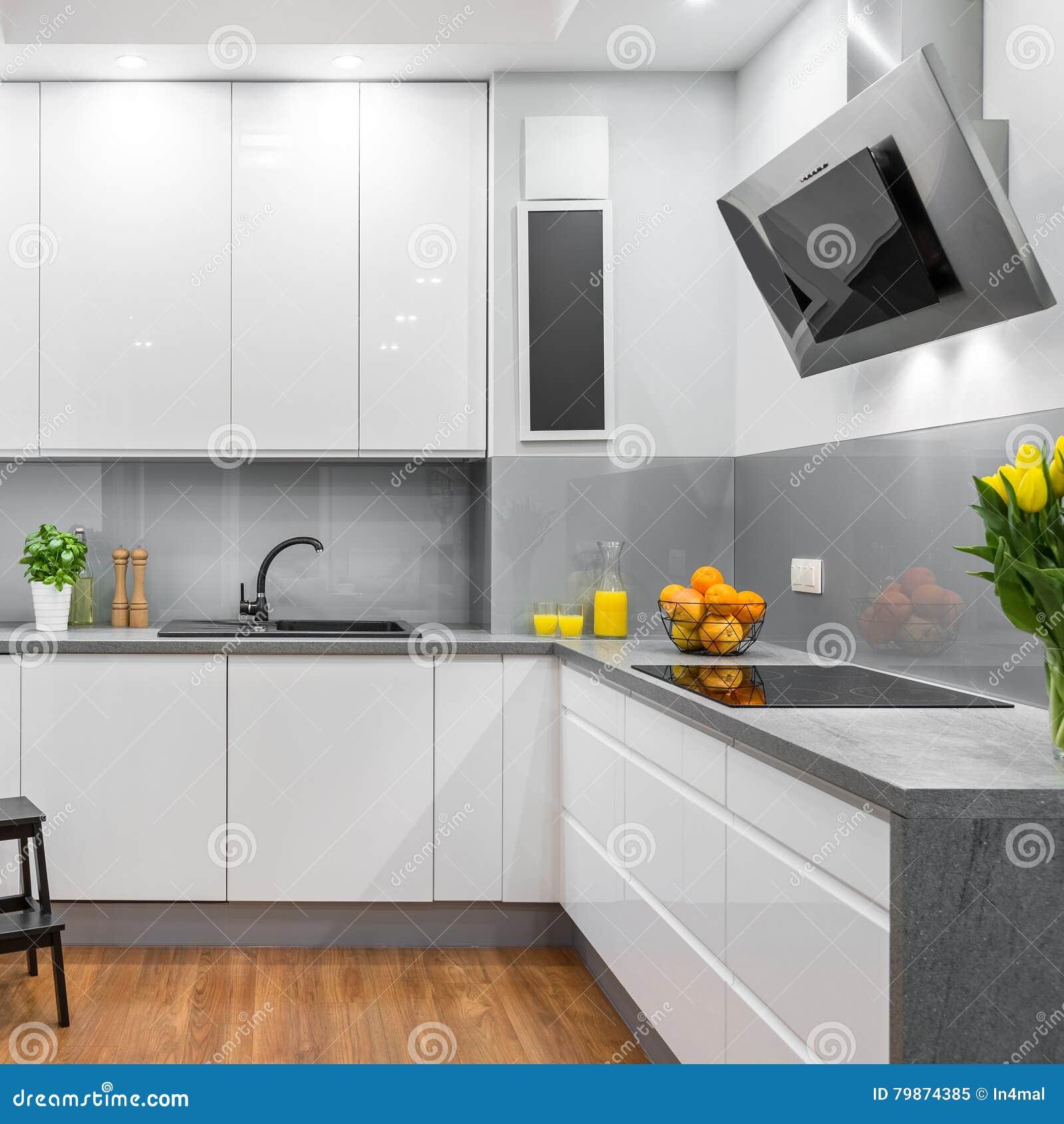 Cucina Bianca Nello Stile Moderno Immagine Stock - Immagine ...