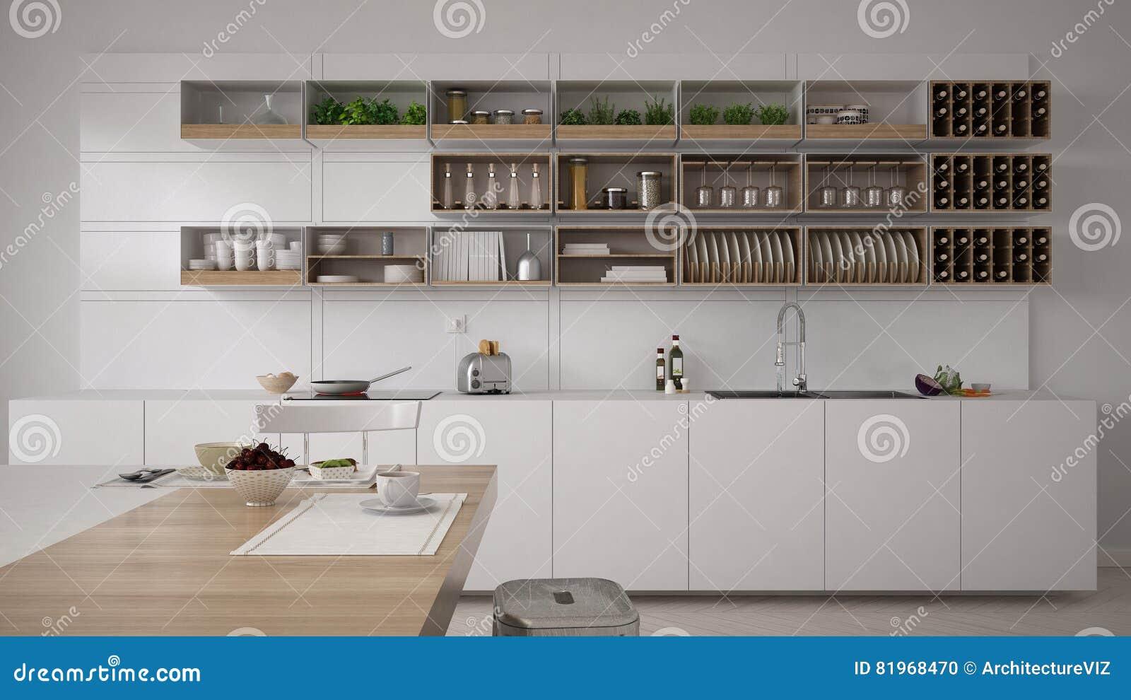 Cucina bianca scandinava, interno minimalistic