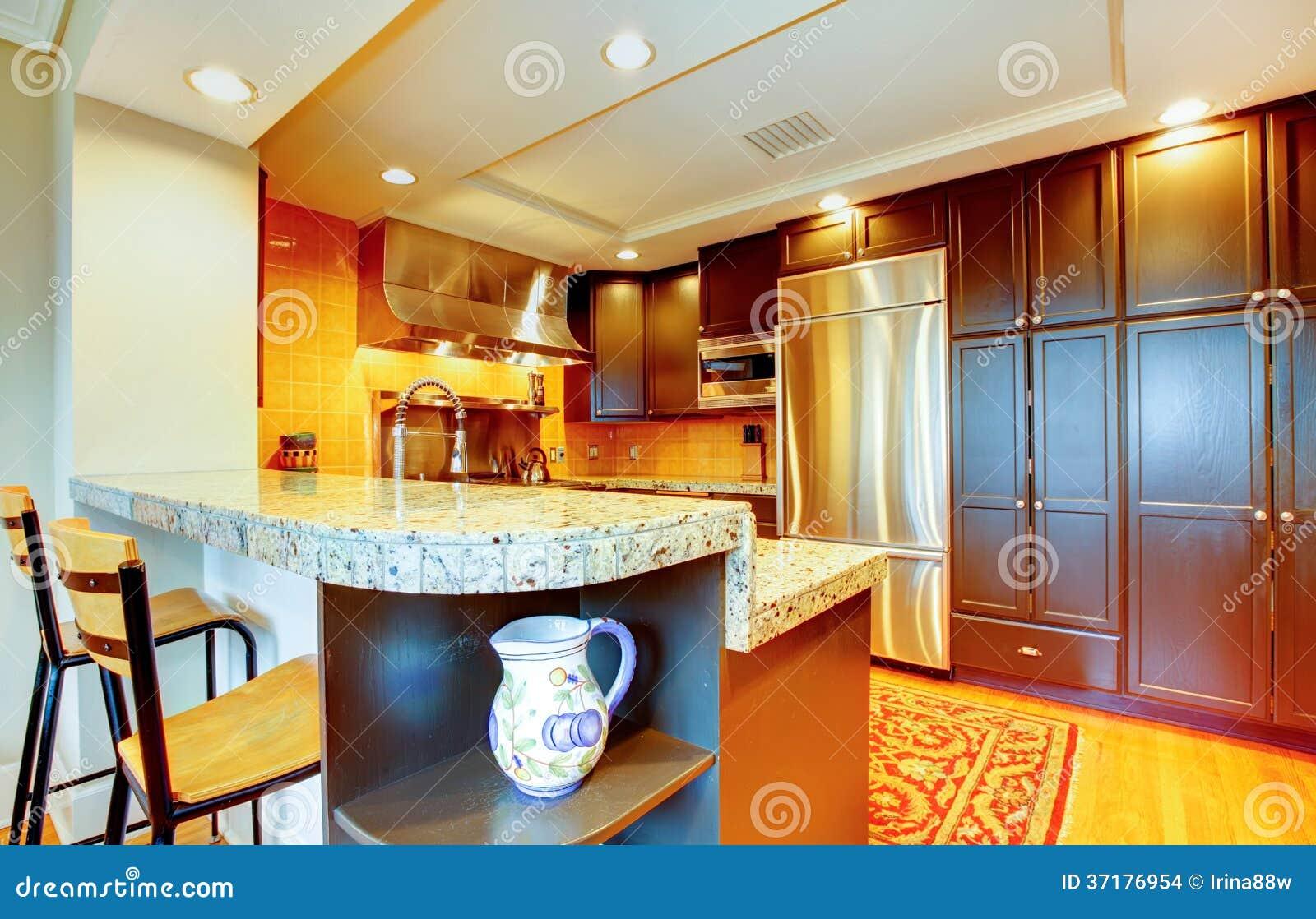 Cucina brillante con i gabinetti di legno neri e gli apparecchi d