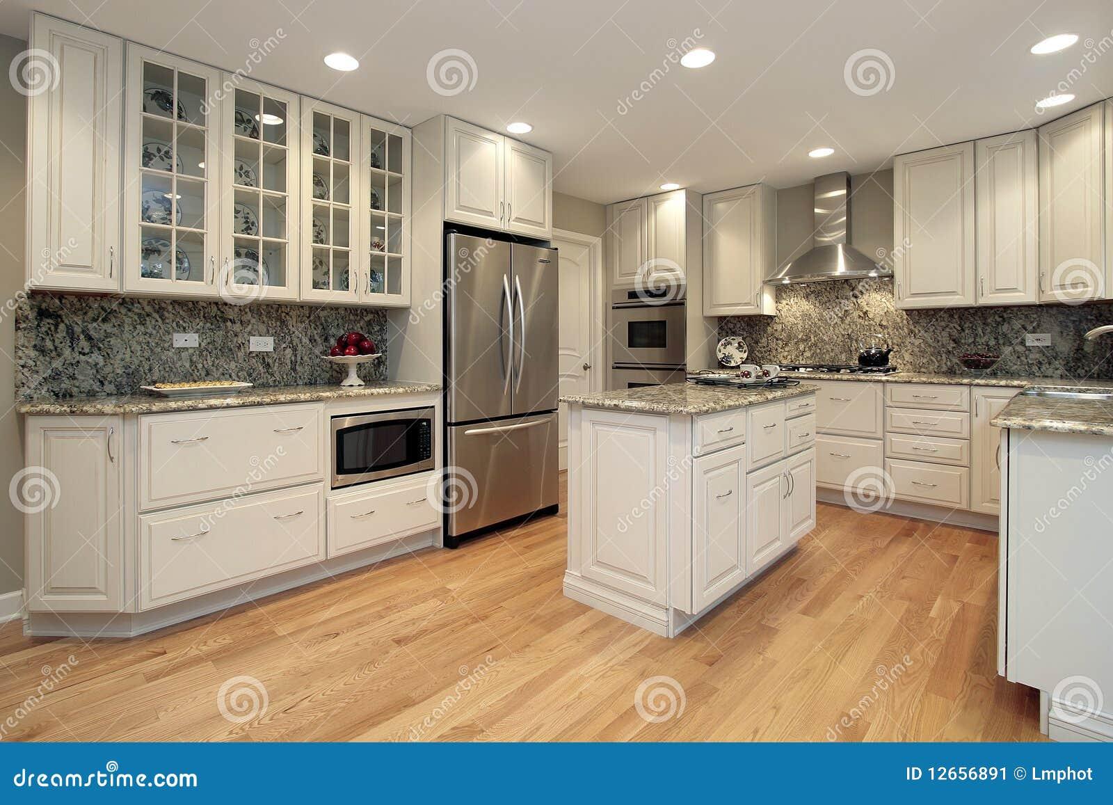 Cucina Con Cabinetry Di Colore Chiaro Immagine Stock - Immagine di ...