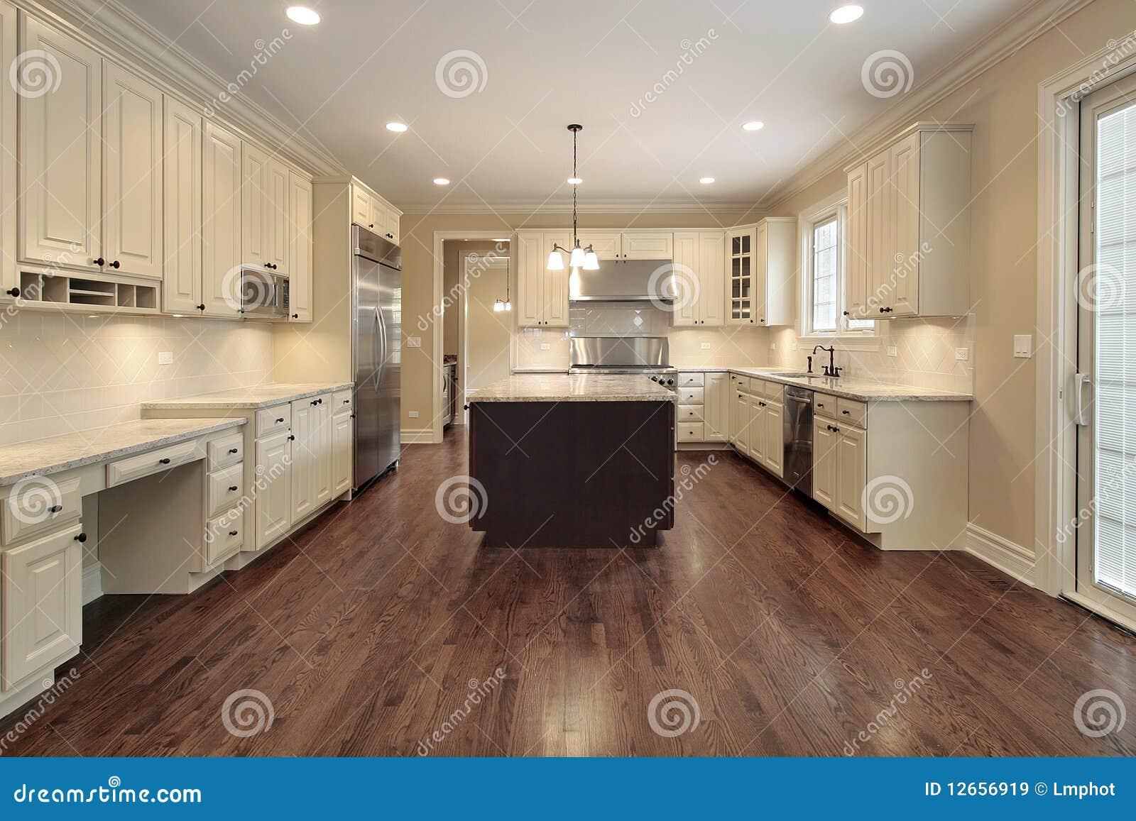 Cucina Con Cabinetry Di Legno Chiaro Immagine Stock - Immagine di ...