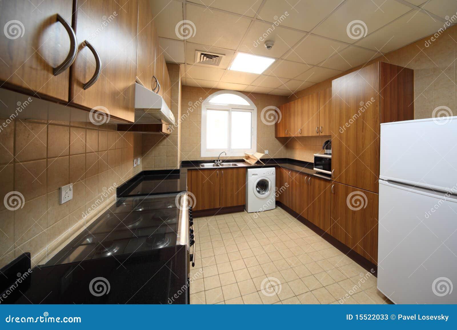Cucina con gli armadietti la lavatrice ed il frigorifero - Cucine con lavatrice ...