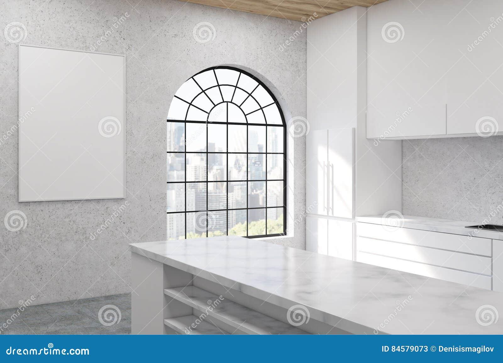 Cucina Con La Finestra A Forma Di Arco Illustrazione di Stock ...