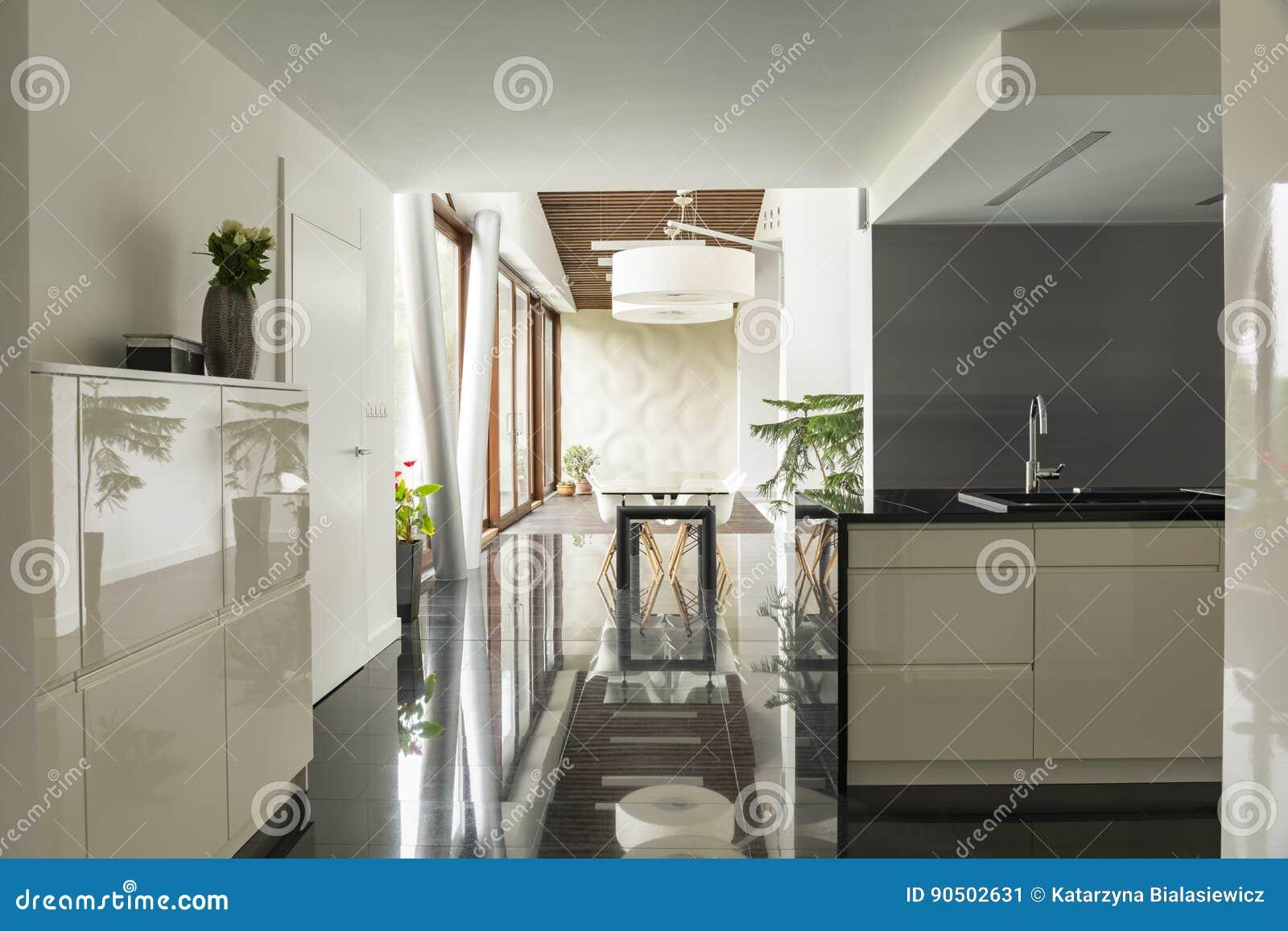 Cucina con la vista della sala da pranzo immagine stock for Cucina con sala da pranzo