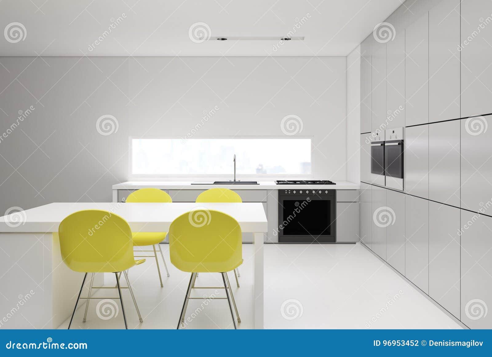 Sedie Gialle Da Cucina.Cucina Con Le Sedie Gialle Illustrazione Di Stock Illustrazione