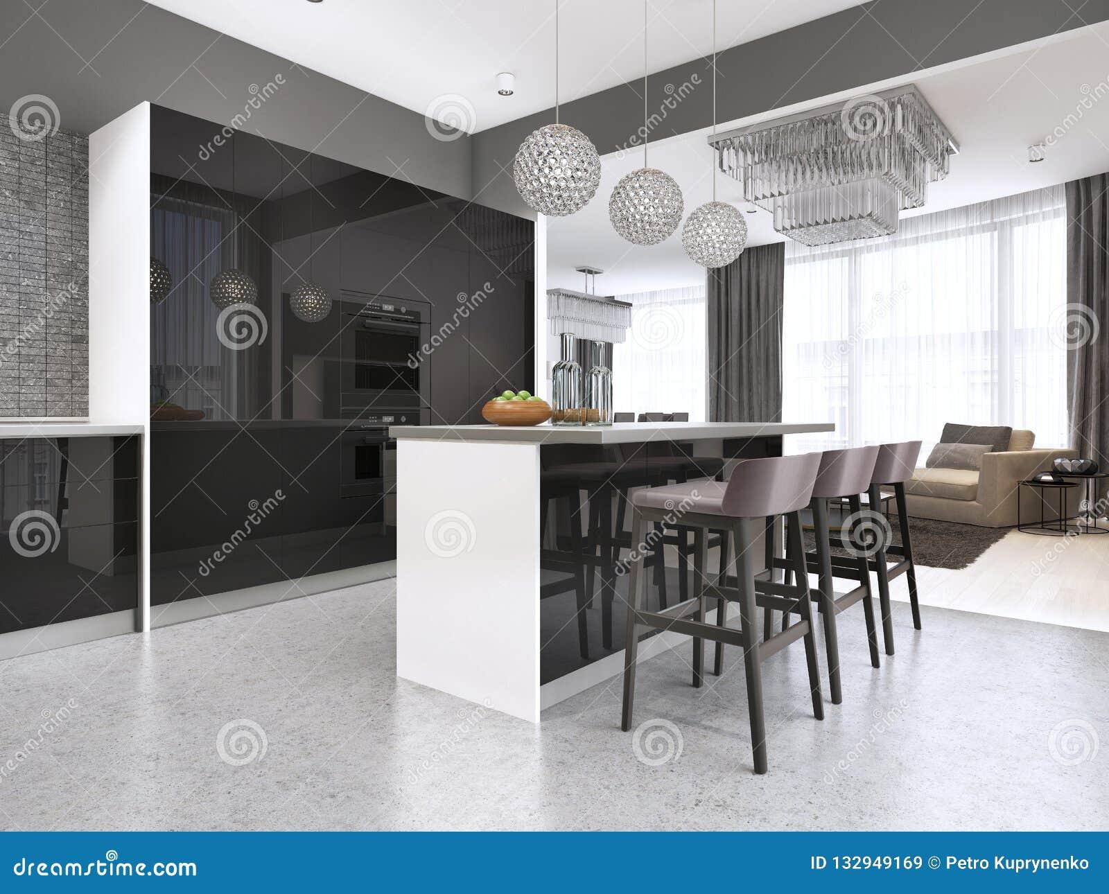 Cucina contemporanea con una facciata lucida nera con un isola e